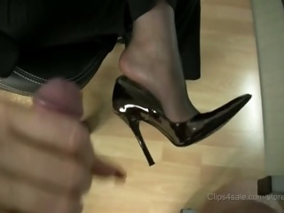 stocking footjob with..